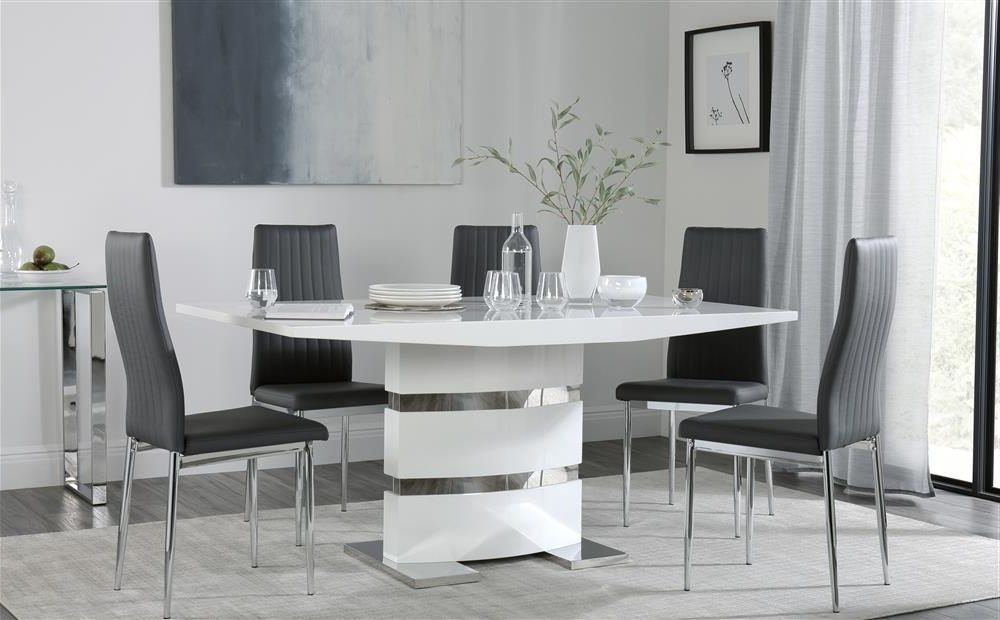 Trendy Dining Tables With Grey Chairs For Komoro White High Gloss Dining Table With 6 Leon Grey Chairs Only (View 18 of 20)