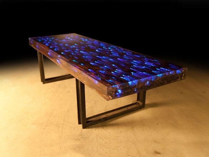 Trendy Dining Tables With Led Lights In 10 Ft L Dining Table Desk Driftwood Resin Embedded Led Light (View 4 of 20)
