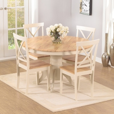 Trendy Elson Round Oak And Cream 4 Seater Dining Set In Round Oak Dining Tables And Chairs (View 17 of 20)