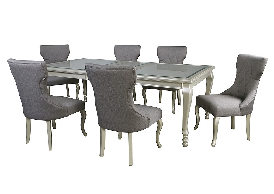Trendy Enes Outlets Coralayne Silver Finish Rectangular Dining Room Pertaining To Craftsman 5 Piece Round Dining Sets With Uph Side Chairs (View 16 of 20)