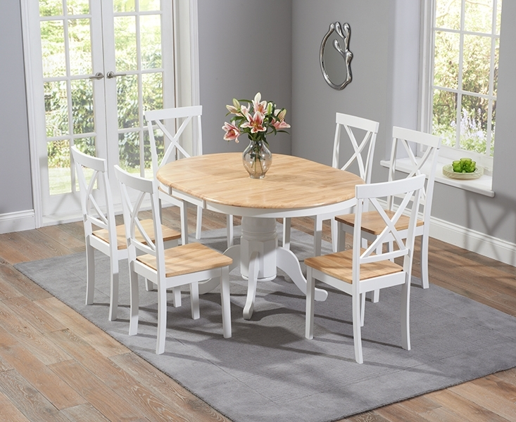 Trendy Epsom Oak And White Pedestal Extending Dining Table Set With Chairs Within Extendable Dining Tables With 6 Chairs (View 19 of 20)