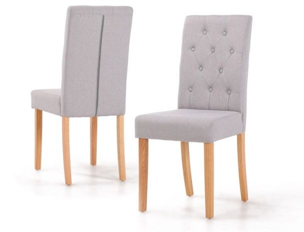 Trendy Finsbury Button Back Dining Chairs With Oak Wood Legs Within Button Back Dining Chairs (View 2 of 20)