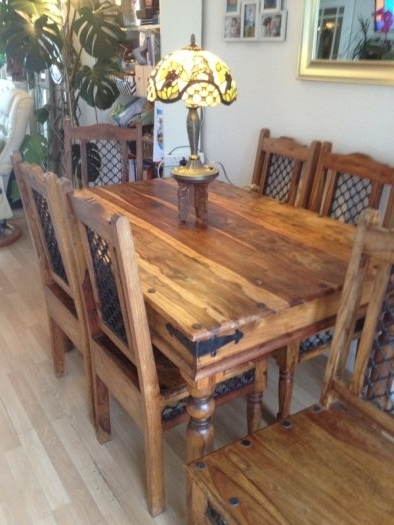 Trendy Furniture Jaipur Sheesham Dining Table 8 Chairs Indian Rosewood For Within Sheesham Dining Tables 8 Chairs (View 18 of 20)