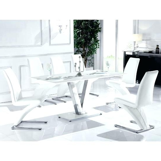 Trendy Glass Dining Tables White Chairs Inside Black And White Glass Dining Table Black Dining Room Table Sets (View 19 of 20)