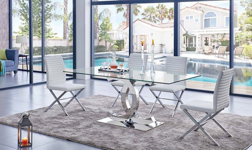 Trendy Glass Dining Tables With Regard To Chanelle Modern Glass Top Dining Table (View 18 of 20)