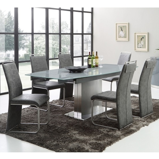 Trendy Glass Extendable Dining Tables And 6 Chairs With Cruise Extendable Dining Table In Grey Glass And 6 Dining (View 7 of 20)