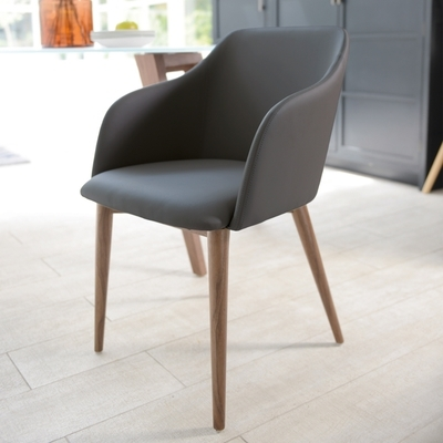 Trendy Grey Dining Chairs In Dip Dining Chair Grey – Dwell (View 3 of 20)
