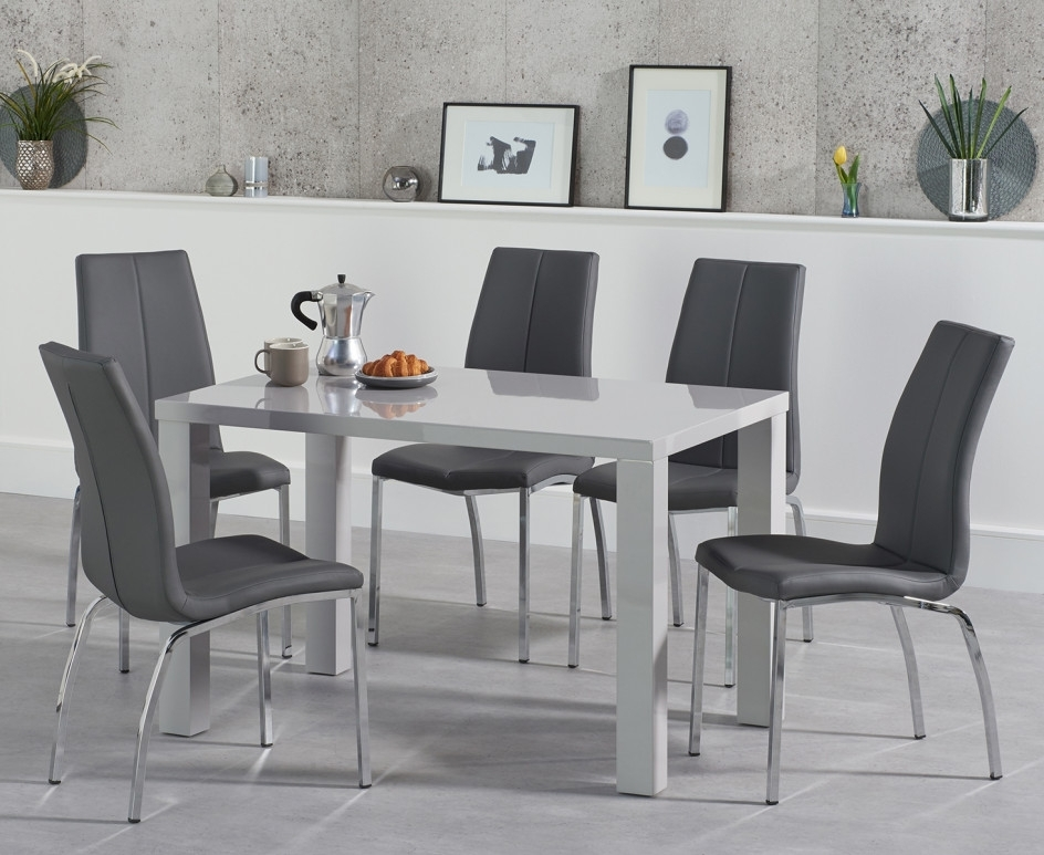 Trendy Grey Gloss Dining Tables For Atlanta 120Cm Light Grey Gloss Dining Table With Cavello Chairs (View 10 of 20)
