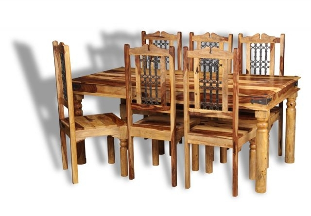 Trendy Jali Sheesham Dining Table And Chairs In Sheesham Dining Chairs (View 18 of 20)