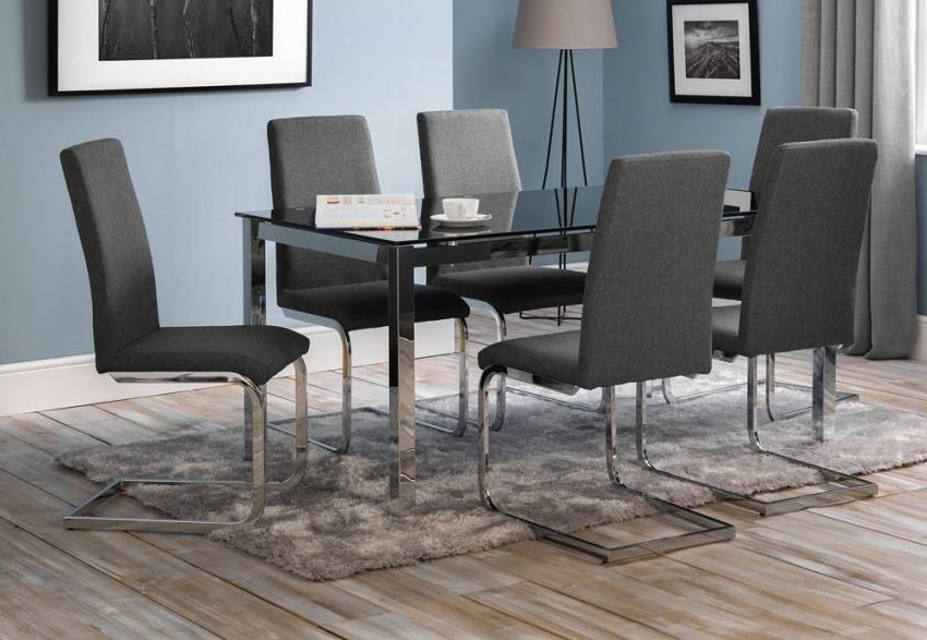 Trendy Julian Bowen – Tempo Dining Table & Roma Dining Chairs – Black Glass Regarding Roma Dining Tables And Chairs Sets (View 19 of 20)