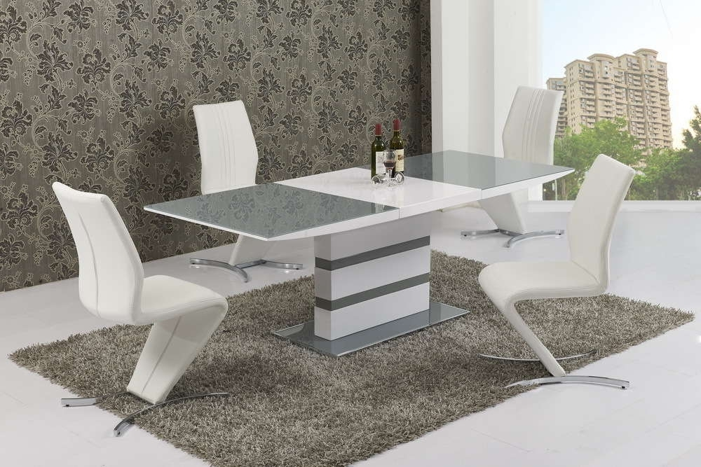 Trendy Large Extending 6 Seater Gloss Grey Glass Dining Table & Chairs Intended For Glass 6 Seater Dining Tables (View 16 of 20)