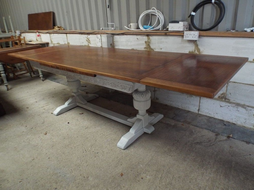 Trendy Large Jaycee 9Ft Oak Shabby Chic Painted Extending Dining Table For Shabby Chic Extendable Dining Tables (View 19 of 20)