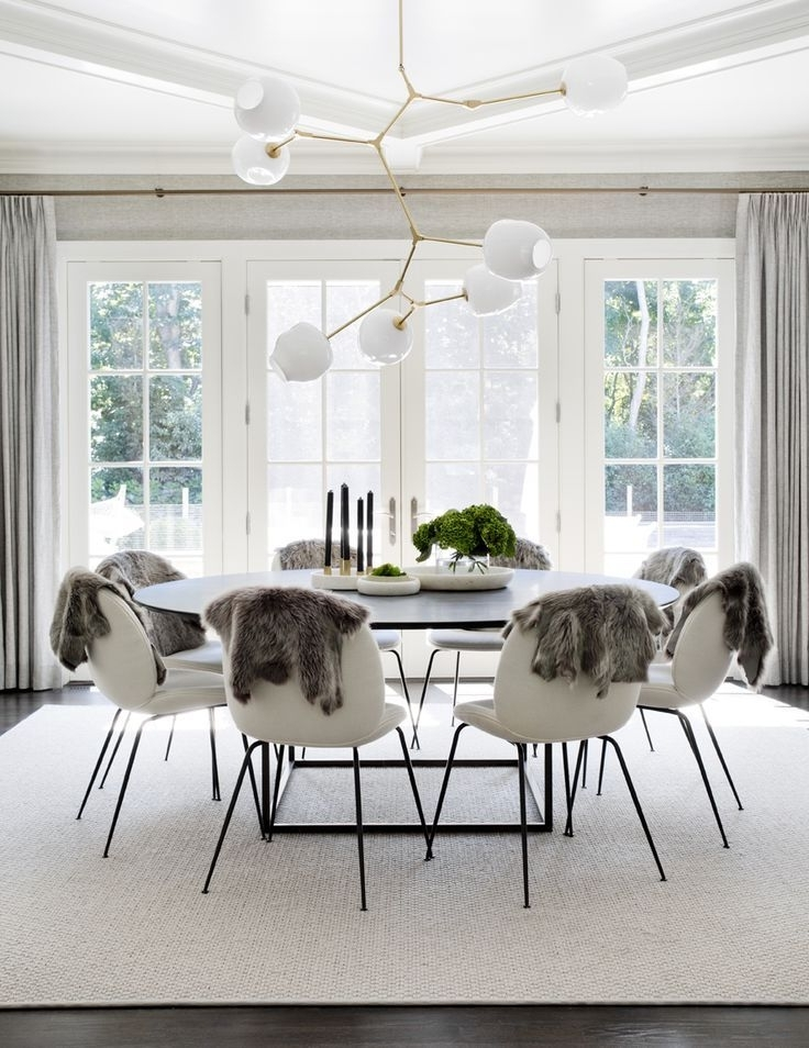Trendy Large White Round Dining Tables With Regard To Stunning, Scandinavian Dining Room With Large Round Table, White (View 14 of 20)