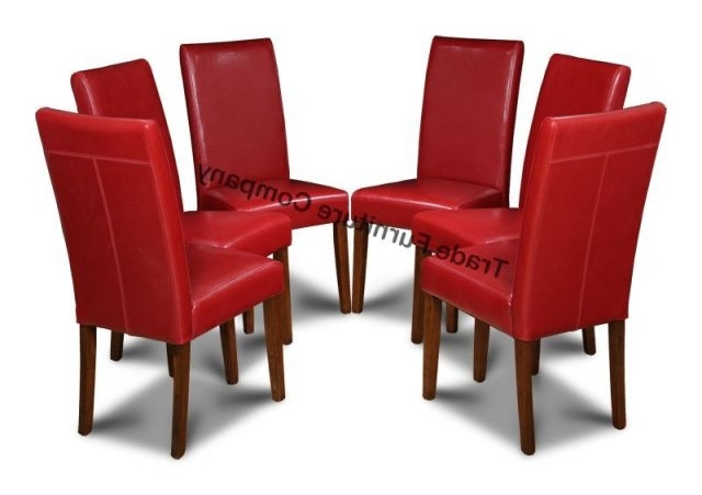 Trendy Leather Dining Chairs Pertaining To Real Red Leather Set Of 6 Dining Chairs (View 17 of 20)