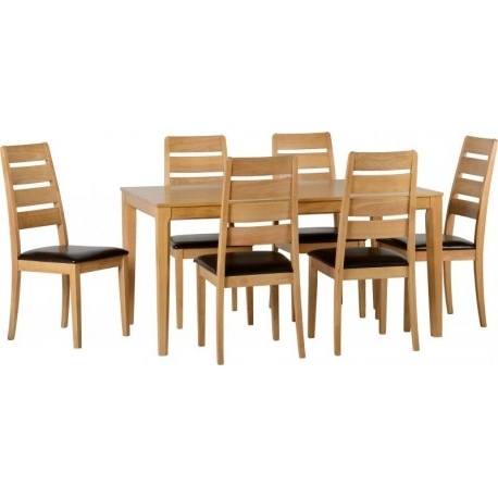 Trendy Logan 1+6 Dining Set In Oak Varnish/brown Faux Leather – Adams Intended For Logan 6 Piece Dining Sets (View 17 of 20)
