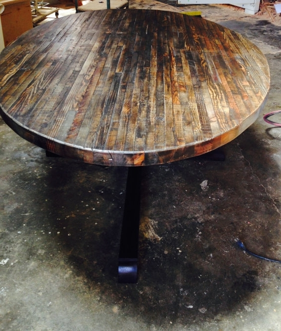 Trendy Oval Reclaimed Wood Dining Tables With Regard To Extra Large Custom Butcher Block Strip Oval Wood Dining Table From (View 14 of 20)