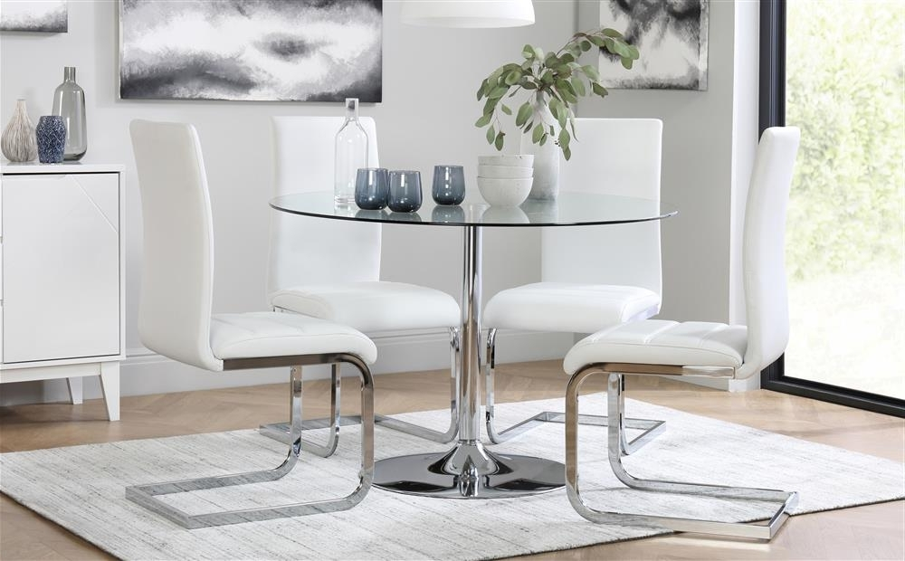 Trendy Perth Dining Tables Throughout Orbit Round Glass & Chrome Dining Table With 4 Perth White Chairs (View 18 of 20)