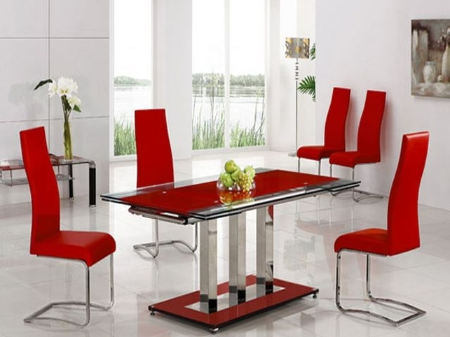 Trendy Red Leather Dining Room Chairs For Sale Red Dining Room Round Dining With Red Dining Table Sets (View 16 of 20)