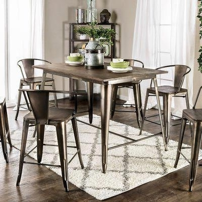 Trendy Reedley 7 Piece Counter Height Pub Set #pubsets Inside Market 7 Piece Counter Sets (View 17 of 20)