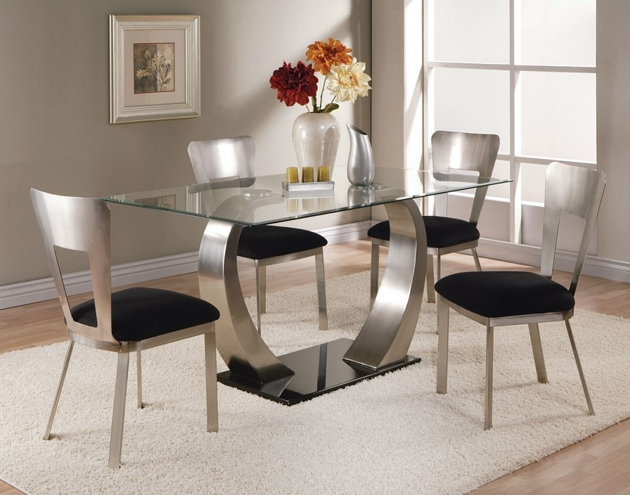 Trendy Round Black Glass Dining Tables And Chairs For Dining Room Modern Glass Dining Table Extending Glass Table And (View 20 of 20)