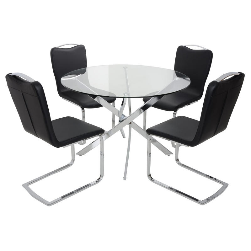 Trendy Round Glass Top Dining Table Set With 4 Black Chairs Recovering In Round Black Glass Dining Tables And Chairs (View 17 of 20)