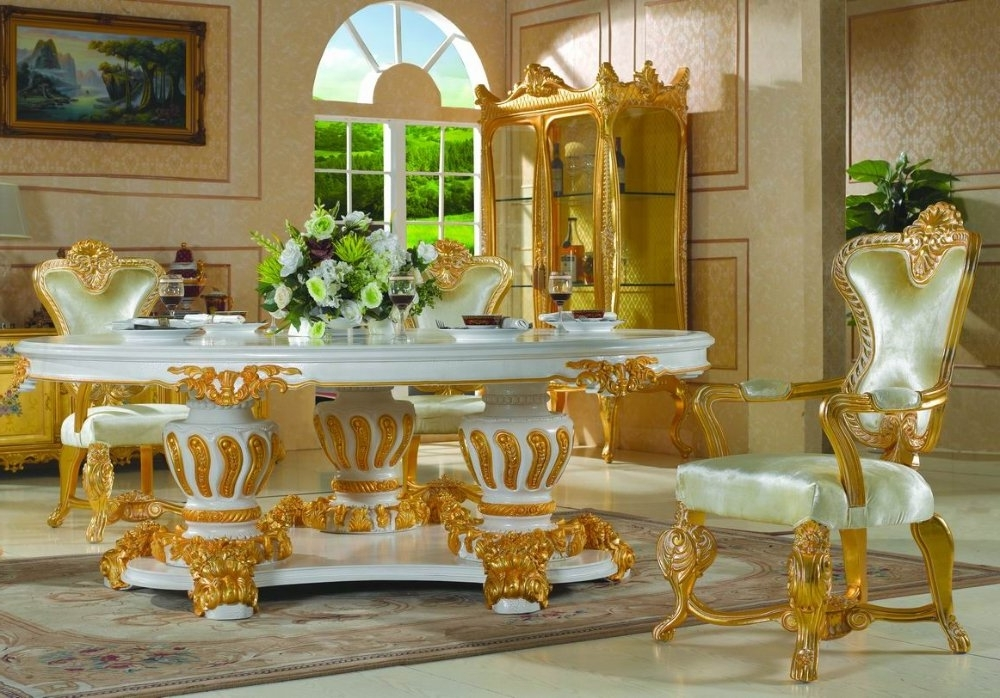 Trendy Royal Dining Tables Regarding Royal Classic Furniture Handwork Gilding Golden Foil Royalty Dining (View 18 of 20)