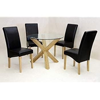 Trendy Saturn Small Solid Oak Dining Table Glass 950Mm Round, Dining Room Within Round Glass And Oak Dining Tables (View 16 of 20)