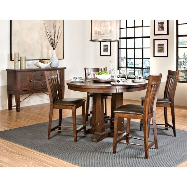 "Trendy Shop Hayden Rough Sawn Espresso 54"" Round Gathering Table – Free Within Hayden Dining Tables (View 18 of 20)"