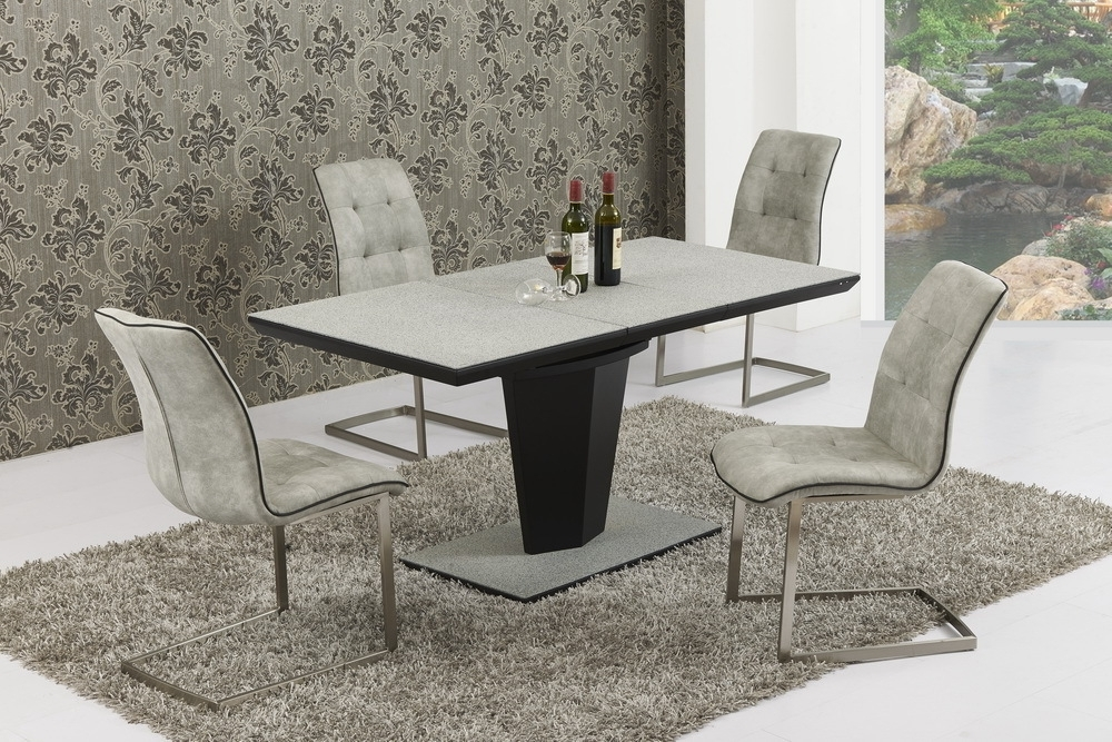 Trendy Small Extending Grey Stone Effect Glass Dining Table And 6 Chairs For Small Extending Dining Tables And Chairs (View 19 of 20)