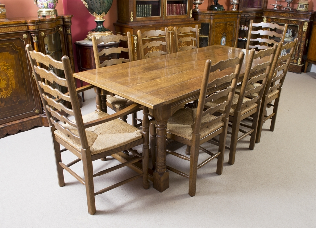 Trendy Solid Oak Dining Tables And 8 Chairs Within Vintage Solid Oak Refectory Dining Table 8 Chairs Modern Dining Room (View 20 of 20)