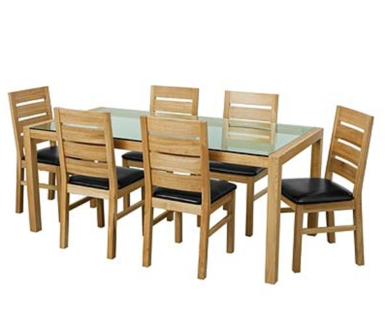 Trendy Solid Oak Glass Top Dining Table Set With Six Chairs 9179 Throughout Oak Glass Top Dining Tables (View 18 of 20)