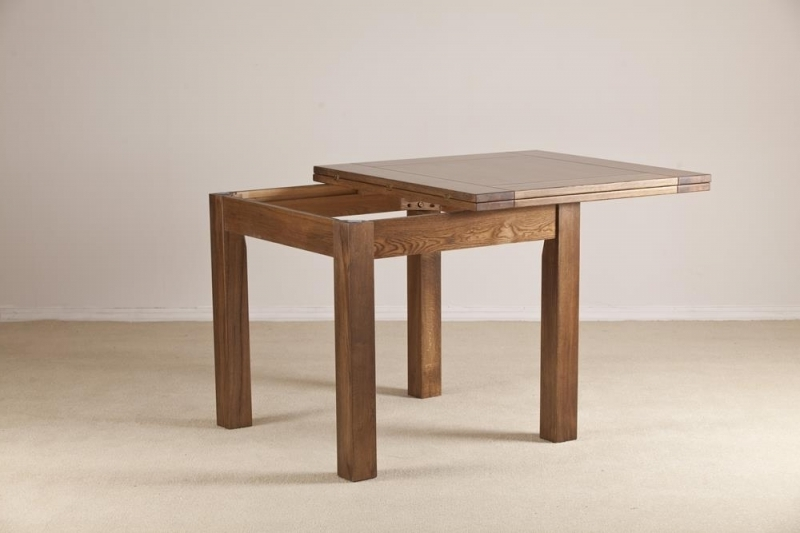 Trendy Square Extending Dining Tables Regarding Buy Rustic Solid Oak Flip Top Square Extending Dining Table –  (View 17 of 20)