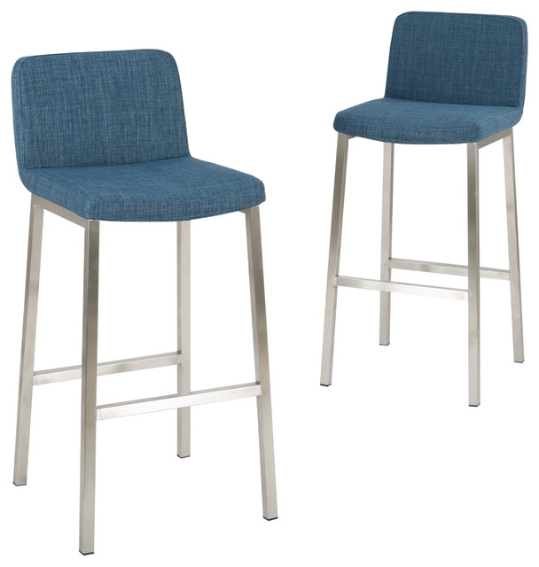 Trendy Valencia 4 Piece Counter Sets With Bench & Counterstool Within Santino Blue Fabric Bar Stools, Set Of 2 – Contemporary – Bar Stools (View 13 of 20)
