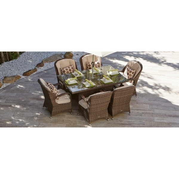 Trendy Valencia 72 Inch 7 Piece Dining Sets Within Shop 7 Piece Eton Outdoor Mixed Brown Wicker Rectangle Dining Table (View 10 of 20)