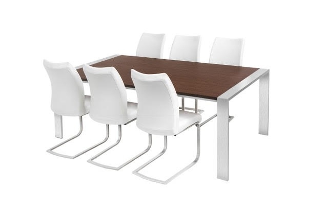 Trendy Walnut & Brushed Steel Dining Table & 6 Chairs Throughout Walnut Dining Tables And 6 Chairs (View 12 of 20)