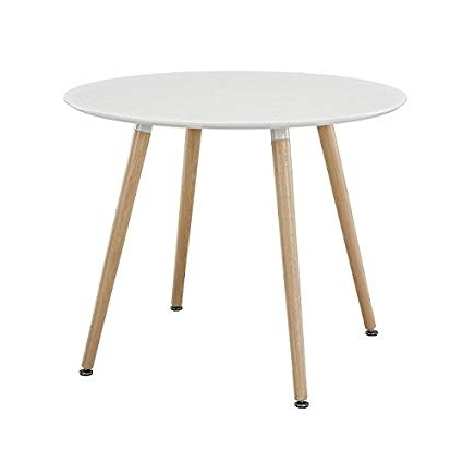 Trendy White Circle Dining Tables Throughout Amazon – Ariel Dsw White Round Dining Table – Tables (View 11 of 20)