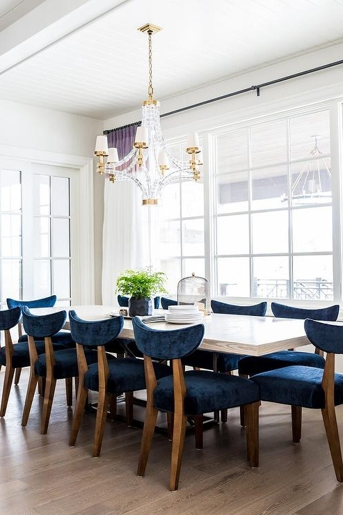 Trendy White Wood Dining Table With Blue Velvet Dining Chairs With Blue Dining Tables (View 3 of 20)