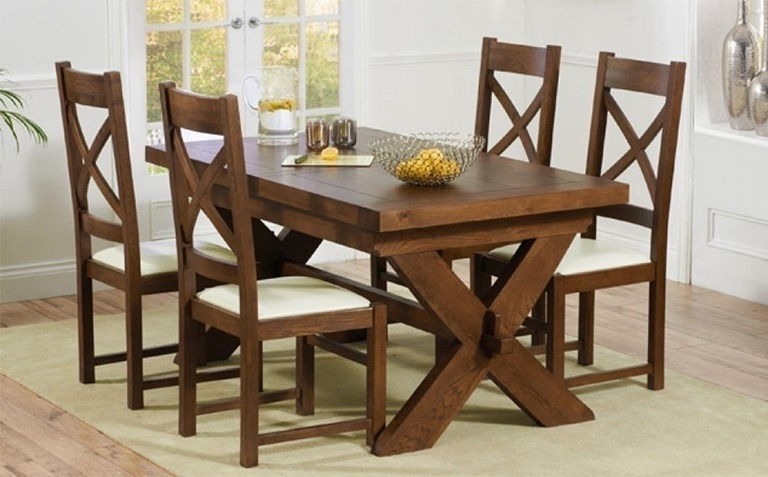Trendy Wooden Dining Tables And 6 Chairs Throughout Dark Wood Dining Table Sets (View 12 of 20)