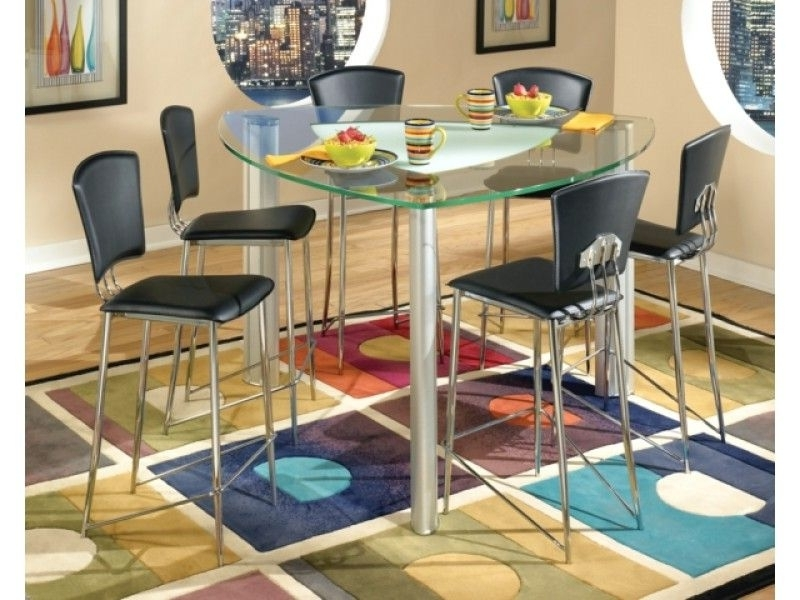 Triangular Modern Tracy Glass Counter Height Table & Chrome Stools In Most Current Caira Black 7 Piece Dining Sets With Arm Chairs & Diamond Back Chairs (View 17 of 20)