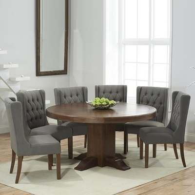 Trina Dark Solid Oak Round Dining Table With 6 Sophia Grey Chairs Pertaining To Most Recently Released Oak Round Dining Tables And Chairs (View 18 of 20)