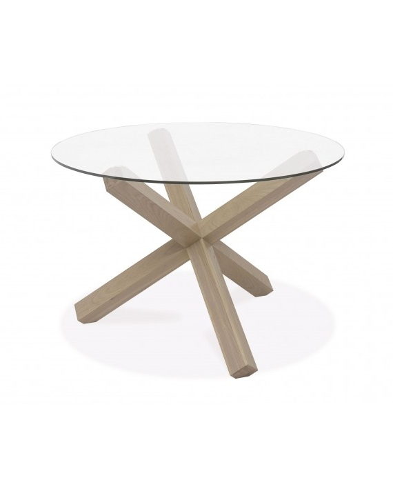 Turin Dining Table – Circular Glass Top – Aged Oak Inside Famous Round Glass And Oak Dining Tables (View 15 of 20)