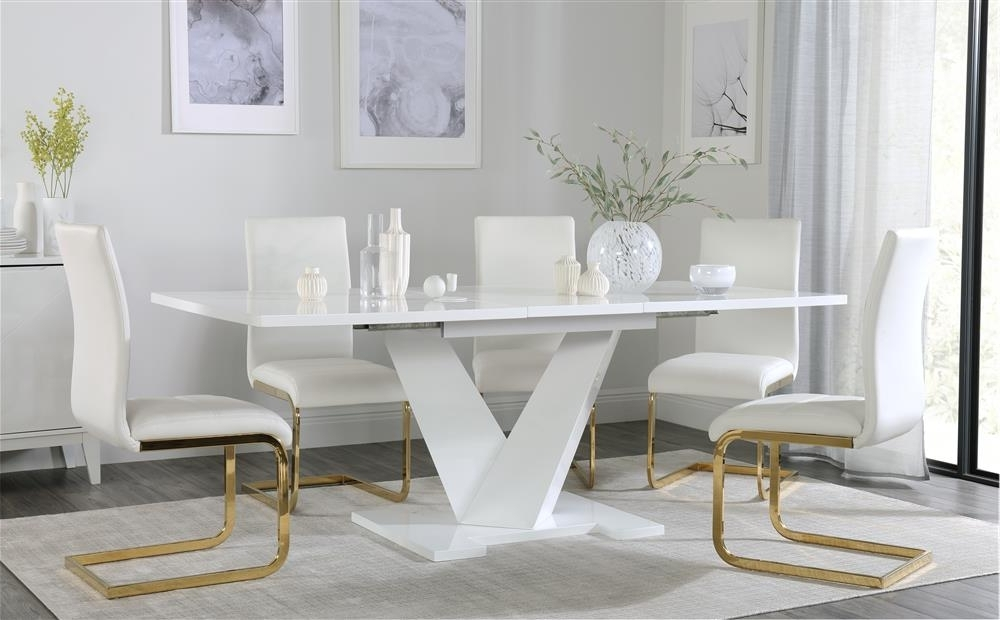 Turin White High Gloss Extending Dining Table With 6 Perth White In Favorite Perth White Dining Chairs (View 18 of 20)