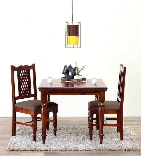 Two Seat Dining Tables Intended For Newest Buy Krisa Solid Wood Two Seater Dining Set In Honey Oak Finish (View 8 of 20)