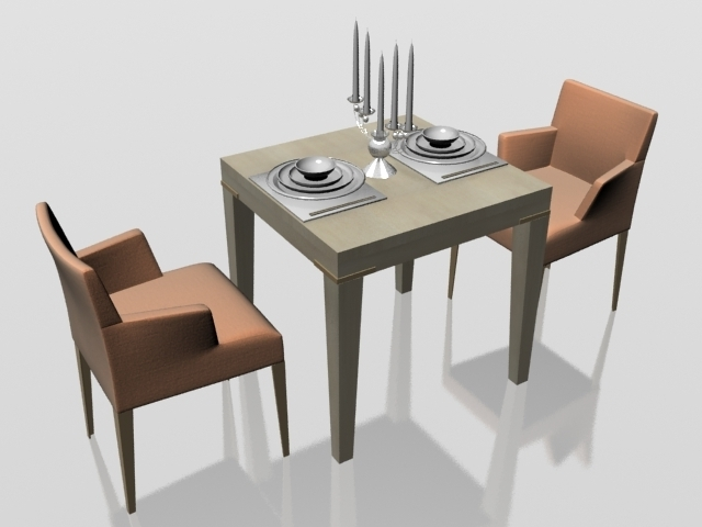 Two Seater Dining Set 3D Model 3Dsmax Files Free Download – Modeling Regarding Recent Two Seater Dining Tables (View 12 of 20)