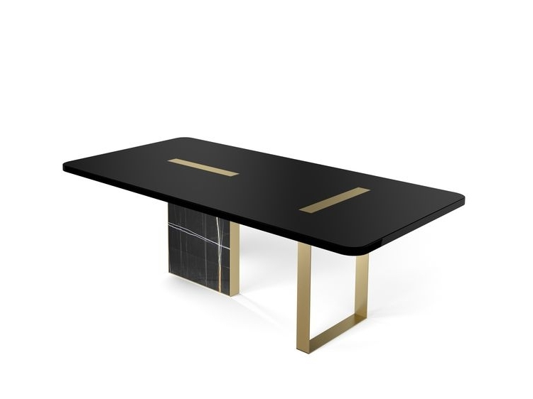 Tyron Dining Table 220X110 In Black Laquered Wood With Bru For Fashionable Laurent Rectangle Dining Tables (View 18 of 20)