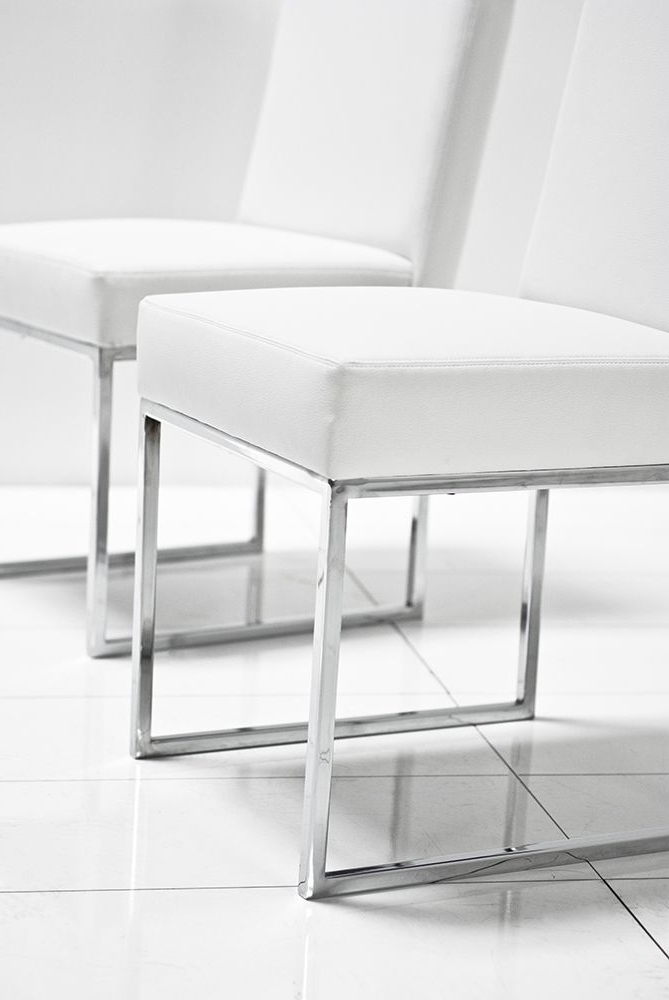 U Chrome White Matte Leather Dining Chair – Roomservicestore With Latest Chrome Leather Dining Chairs (Gallery 15 of 20)