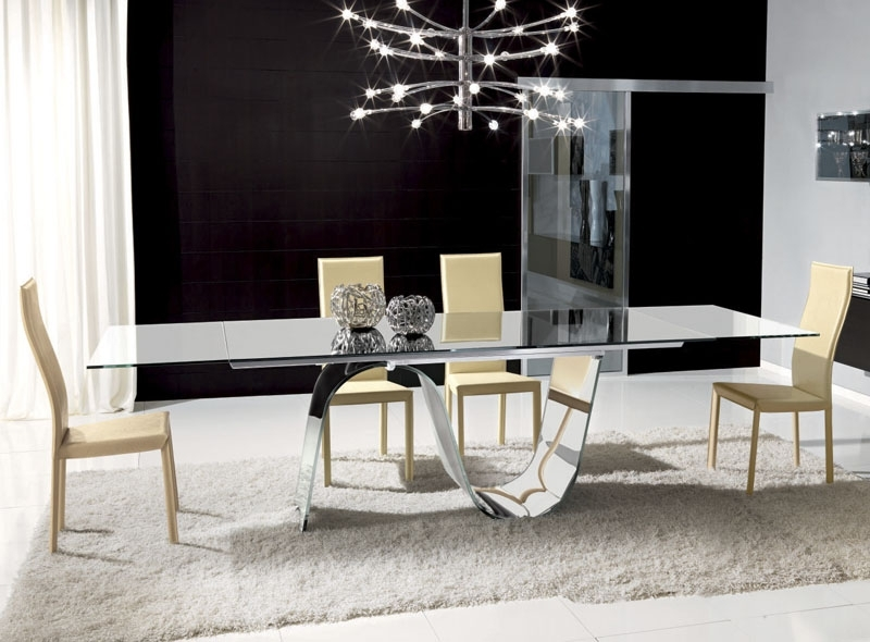 Unico Contemporary Rectangular Infinity Extending Glass Dining Table Pertaining To Well Liked Glasses Dining Tables (View 17 of 20)