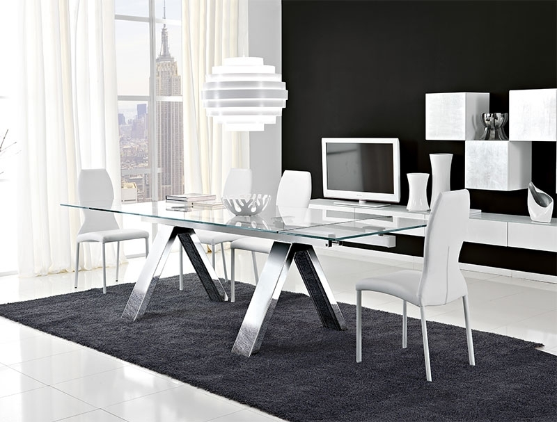 Unico Modern Mitho Extending Glass And Chrome Legs Dining Table Inside Favorite Chrome Glass Dining Tables (View 19 of 20)