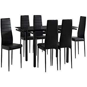 Unmatchable Extending Black Glass Dining Table Set And With 6 Black Inside Fashionable Extending Black Dining Tables (Gallery 19 of 20)