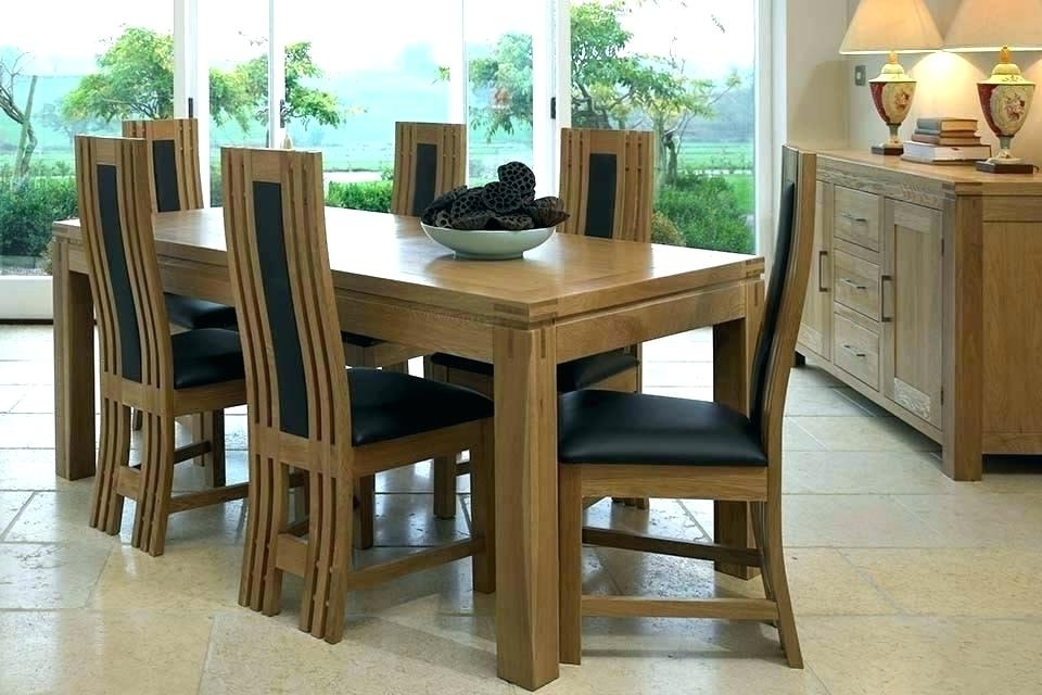 Used Oak Dining Room Table And 6 Chairs Solid Wood With Leather Within Widely Used Oak Extending Dining Tables And 6 Chairs (Gallery 8 of 20)